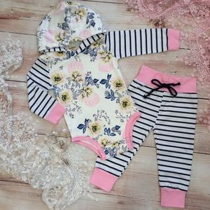 Boutique Baby Girls Floral & Stripes Tracksuit